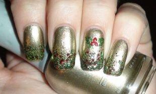 Маникюр своими руками, золотистый праздничный маникюр с блестками