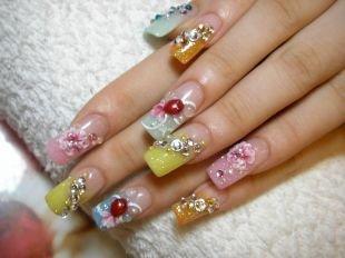Рисунки из страз на ногтях, роскошный дизайн нарощенных ногтей с акриловой лепкой, стразами и божьими коровками