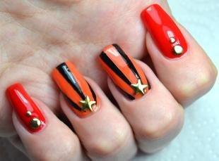 Коралловые ногти с рисунком, дизайн ногтей на день победы