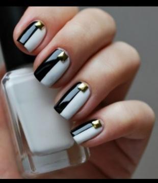 Черно-белый дизайн ногтей, черно-белый фен-шуй маникюр