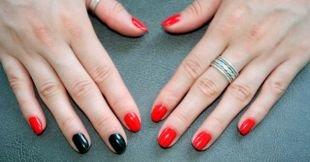 Разный маникюр на ногтях, красно-черный маникюр по фен-шуй