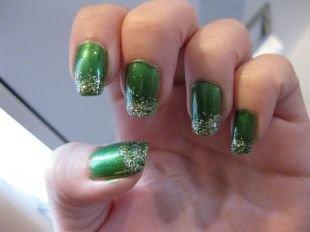 Френч на нарощенные ногти, новогодний френч с блестками