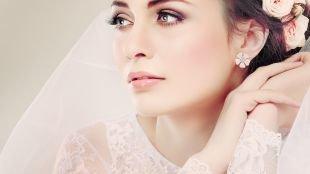 Свадебный макияж в персиковых тонах, очаровательный свадебный макияж