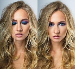 Макияж под фиолетовое платье, макияж на новый год для голубых глаз