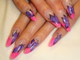 Дизайн нарощенных ногтей, маникюр на выпускной с бабочками