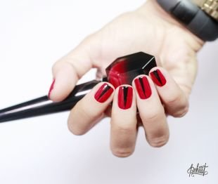 """Красные ногти с рисунком, красно-черный маникюр в стиле """"лабутен"""""""