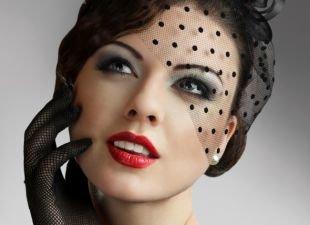 Яркий макияж для серых глаз, великолепный макияж в стиле чикаго 30-х годов
