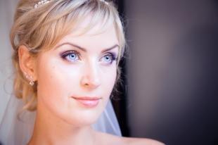 Свадебный макияж с фиолетовыми тенями