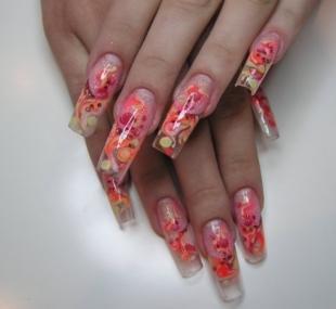 Абстрактные рисунки на ногтях, прозрачный дизайн ногтей