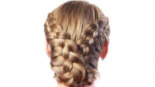 Мышиный цвет волос, прическа с плетением для длинных густых волос