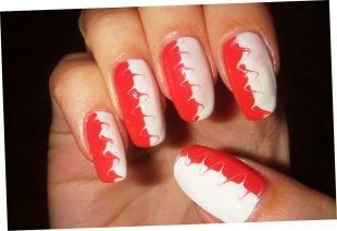 Красно-белый маникюр, рисунки на ногтях иголкой
