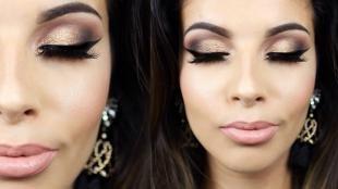 Вечерний макияж для зеленых глаз, яркий блестящий макияж глаз
