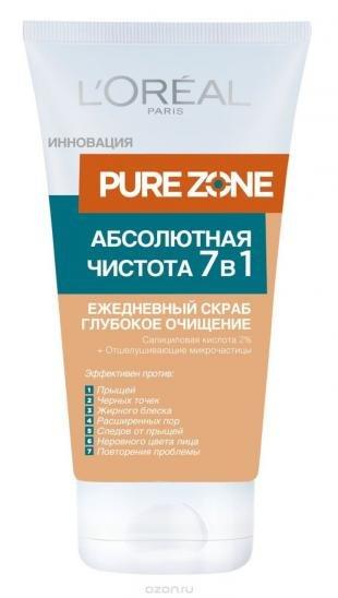 """Скраб для лица от прыщей, l'oreal paris """"pure zone абсолютная чистота 7 в 1"""" ежедневный скраб для лица от черных точек и прыщей, 150 мл"""