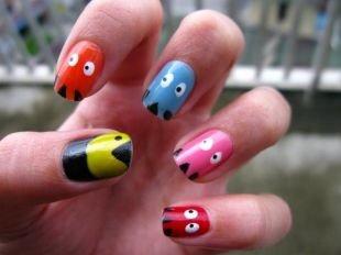 Рисунки на маленьких ногтях, маникюр с рисунком смешных зубастиков