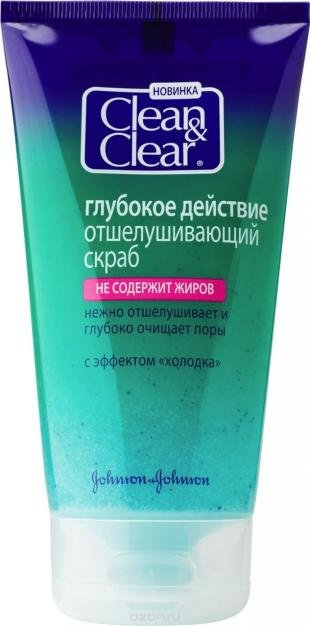 """Скраб для лица от прыщей, clean&clear отшелушивающий скраб для лица """"глубокое действие"""", 150 мл"""