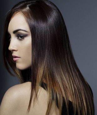 Мелирование на темные волосы на длинные волосы, зональное мелирование для брюнеток