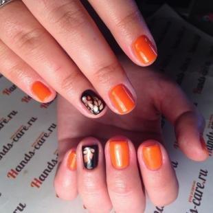 Рисунки с листьями на ногтях, осенний маникюр на короткие ногти
