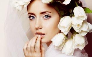 Нежный свадебный макияж, красивый макияж для голубых глаз