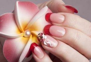 Красный френч, дизайн ногтей к 8 марта