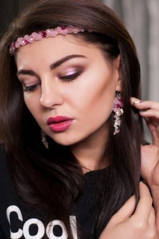 Вечерний макияж для зеленых глаз, вечерний макияж под розовое платье