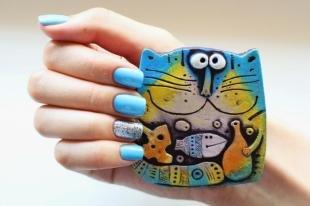 Маникюр шеллак, голубой маникюр для квадратных ногтей