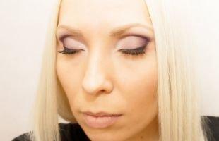 Макияж для карих глаз, макияж для нависшего века в фиолетовых тонах
