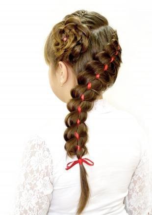 Русо рыжий цвет волос на длинные волосы, детская прическа с косами